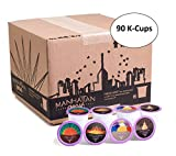 k cup bulk - Manhattan Roast Variety Pack of 4 Signature Blends 'Empire Blend 'Times Brew 'Liberty Brew 'Chrysler Brew' Single-Serve Coffee Freshcup works in most Keurig KCup Brewers, 90 Count Box