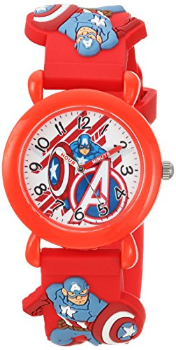 MARVEL Boys Avenger Analog-Quartz Watch with Plastic Strap, red, 17 (Model: WMA000155)