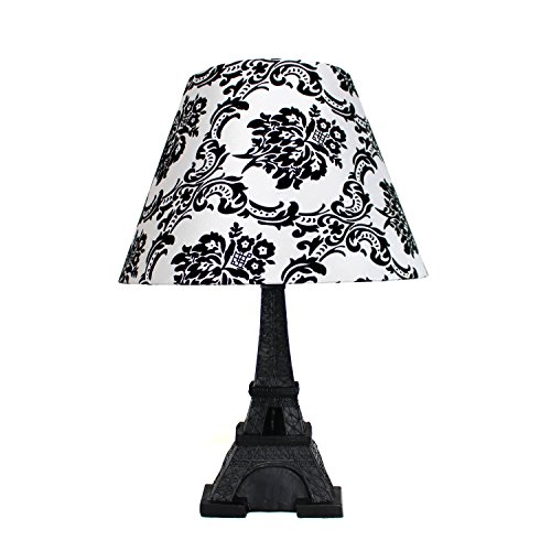 Damask lamp shade amazon simple designs home lt3010 dsk eiffel tower lamp with printed fabric shade 12 x 12 x 16 damaskblack aloadofball Image collections