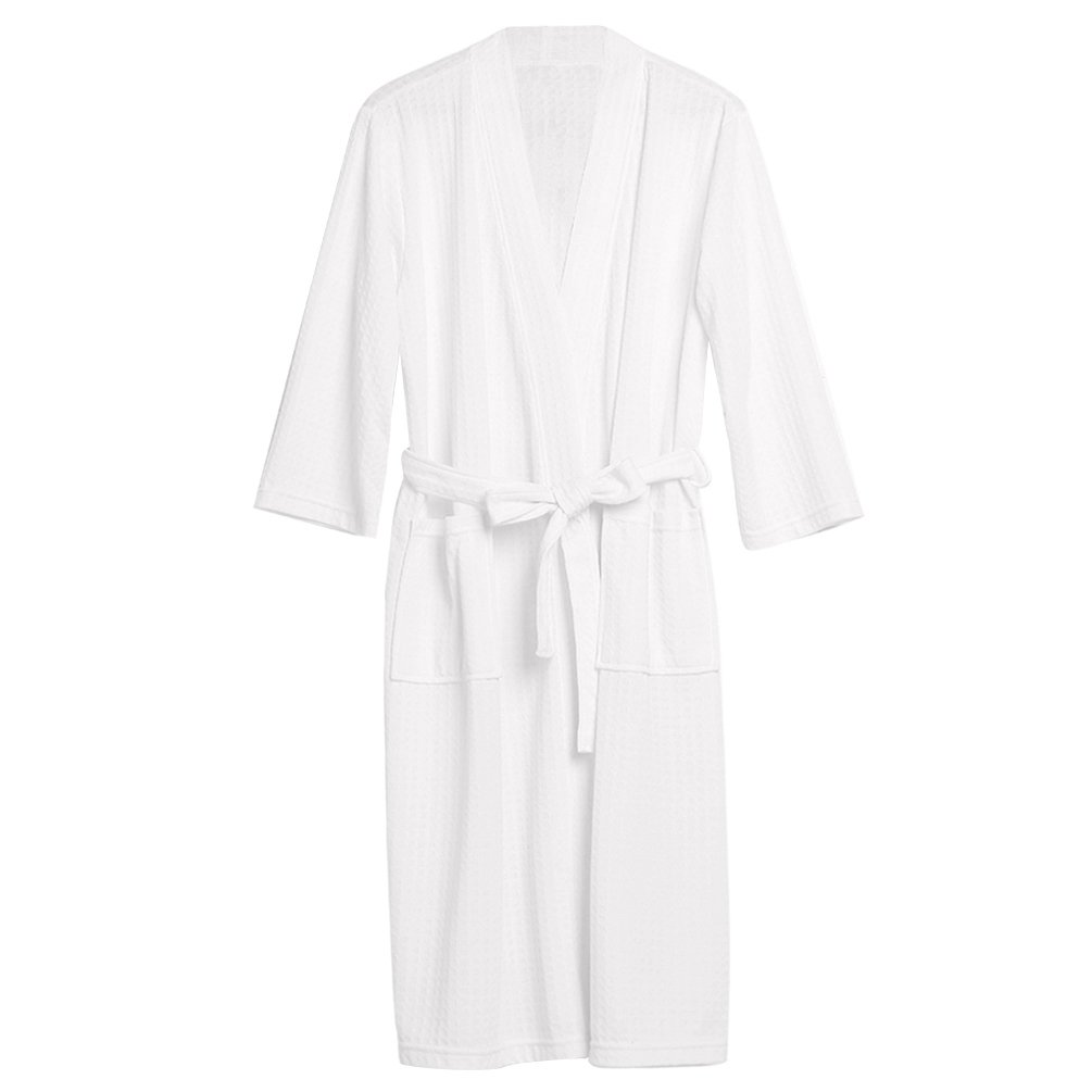 Uarter Men Women Robe Waffle Weave Bathrobe Couple Bath Robes Practical Night-Robe for Spring and Summer, White, XXXL