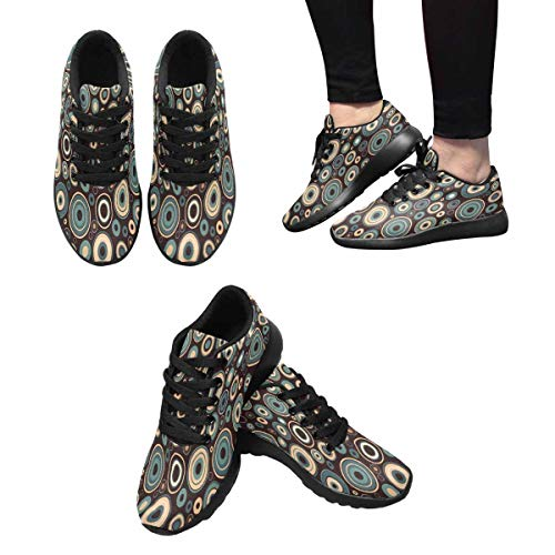 InterestPrint Athletic Design Women's and Dots Circles Pattern Retro Running Shoes with 1 rOrxqC1w