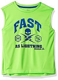 Reebok Big Boys\' Fast Active Muscle Tank, Neon Green, 8