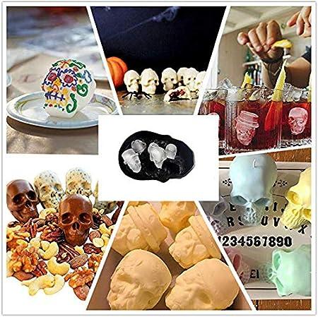 Cocktail und Jedes Getr/änk A Silikon Eisw/ürfelform Totenkopf 6-Fach 3D Totenkopf Silikon Eisw/ürfel mit Mini Trichter Perfekt f/ür Whiskey