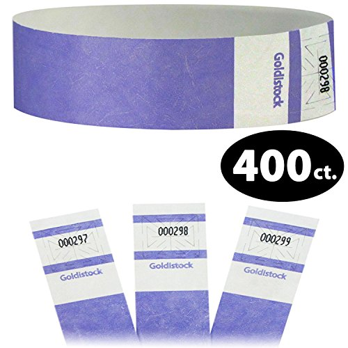 (Goldistock Select Series - Extra Wide Super Strong Tyvek Wristbands Lavendar Light Purple 400 Count - Event Identification Bands (Paper - Like Texture))