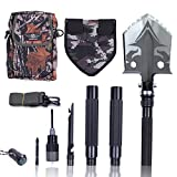 Otplore Military Folding Tactical Shovel - Multitool Shovel for Camping Backpacking Hiking Car Snow - Portable, Multifunctional, Compact Emergency Kit, Heavy Duty Survival Gear, 32''