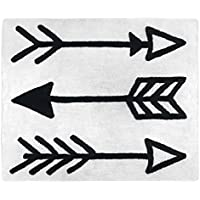 Sweet JoJo Designs Boys or Girls Accent Floor Rug Bedroom Decor for Black and White Fox and Arrow Kids Bedding Collection