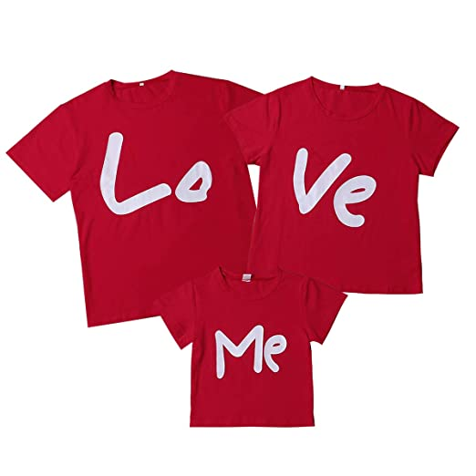 b9beb0a9 Amazon.com: Matching Family Shirt Valentines Day T-Shirt Couple Shirts  LO-VE ME Letter Print Couple Kids Gifts Red Cotton Tee: Clothing