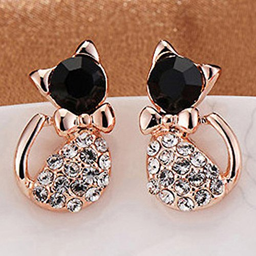 Dolland Charming Cat Jewelry Cute Pet Cat CZ Stud Earrings For Women Girls