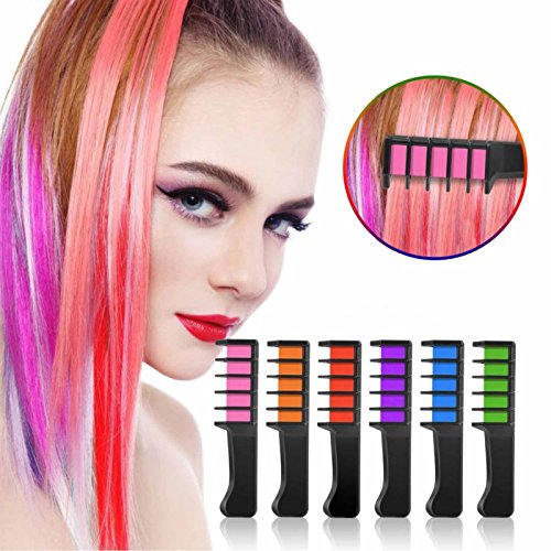 Kalolary Hair Chalk Comb- 6 Colors Temporary Hair Coloring for Kids, Ideal Christmas Birthday Party Cosplay Gifts for Girls Boys for Hair Dye