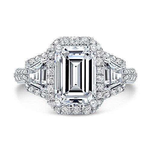 DIAMOND MANSION Stunning Genuine Emerald Cut 3-Stone Halo 2 Row Shank Diamond Engagement Ring - GIA Certified (Platinum, 2.20)