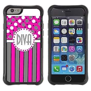 KROKK CASE Apple Iphone 6 PLUS 5.5 - diva polka dot pink grey stripes lines - Funda Carcasa Bumper con Absorción de Impactos y Anti-Arañazos Espalda Slim Rugged Armor
