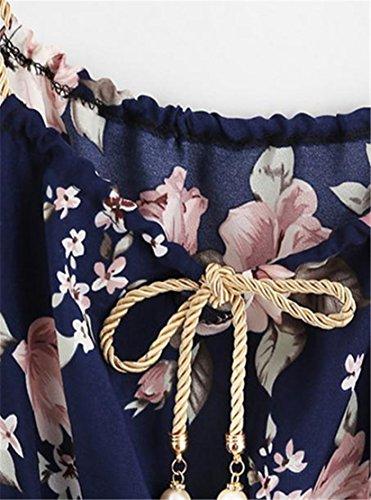 Cruiize Femmes Fines Bretelles Imprimé D'été Mini-marine Robe Taille Élastique