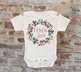 Rustic Rose Wreath Baby Name Personalized, Customized, Woodland Style, Boho Baby, Girl Name