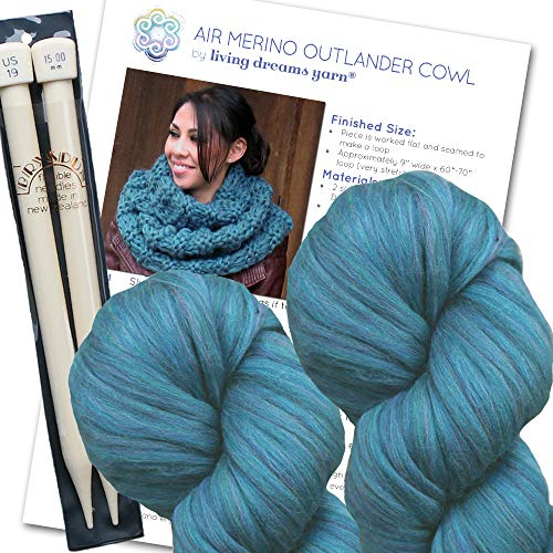 Air Merino Outlander Cowl KNIT KIT includes super soft thick Air Merino yarn, big needles and written pattern. Color: PACIFIC