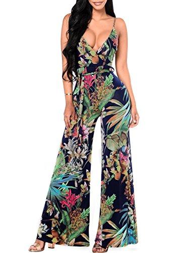 Glamaker Womens Deep V Neck Backless Strap Floral Print Wide Leg Long Pants Jumpsuit