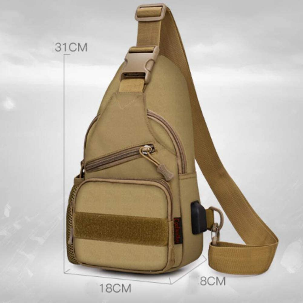 Selighting Small Tactical Military Chest Sling Bag Water-resistant MOLLE Shoulder Pack Mens One Strap Daypack with Water Bottle Holder