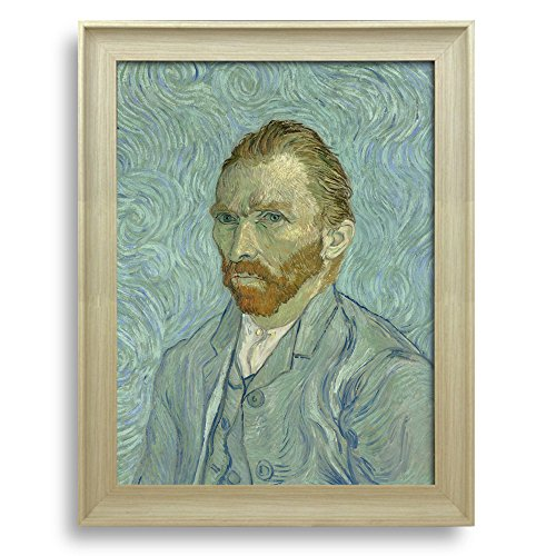 Self Portrait by Vincent Van Gogh Framed Art Print Famous Painting Wall Decor Natural Wood Finish Frame