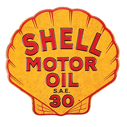 Tin Sign Shell (Shell Motor Oil Embossed Metal Sign)