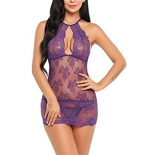 LYZ-LH Transparent Lingerie Sexy Erotic Costumes Women Mini Baby Doll Sleepwear Nightwear Exotic Apparel Porn Sex Intimates Purple (Maid Costume Tutorial)