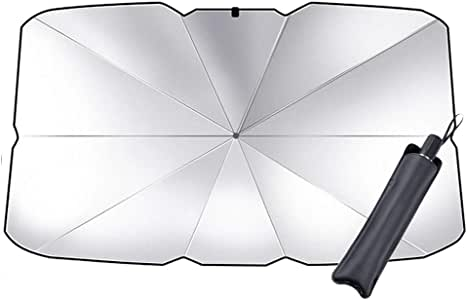 Fancer Umbrella Car Sun Shade for Windshield, New Upgraded Foldable Car Sunshade Parasol Umbrella to Keep Your Vehicle Cool and Damage Free, Block Heat UV Rays Sun Visor Protector, Easy to Use/Small