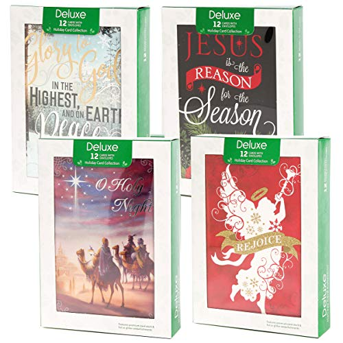 Papercraft (48 Pack) Boxed Christmas Cards Deluxe Bulk Assortment Holiday Cards Pack with Foil & Glitter - Religious Christmas Cards