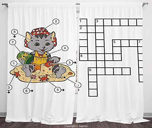 Rod Pocket Curtain Panel Polyester Translucent Curtains for Bedroom Living Room Dorm Kitchen Cafe/2 Curtain Panels/55 x 45 Inch/Word Search Puzzle,Crossword Game for Children Cute Cat on Beach and Bui