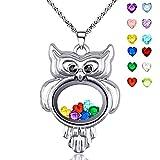 YOUFENG Love Heart Locket Necklace Pendant Lavender Enamel Memories Charm Hold Pictures Lockets (Owl birthstone locket)
