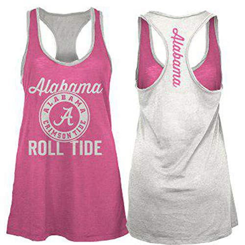 Pressbox NCAA Womens Alabama Crimson Tide Noelle Racerback Tank Top Pink/White Small