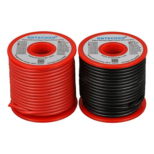 BNTECHGO 16 Gauge Silicone Wire Spool 100 feet Ultra Flexible High Temp 200 deg C 600V 16 AWG Silicone Wire 252 Strands of Tinned Copper Wire 50 ft Black and 50 ft Red Stranded Wire for Model Battery