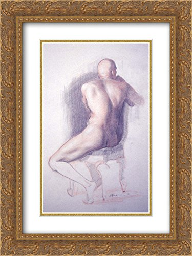 Patrick Devonas 2x Matted 18x24 Gold Ornate Framed Art Print 'Conte drawing (male nude seen from behind)'