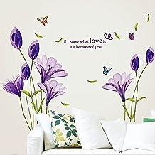 Huayang| DIY Romantic PVC Removable Lily Flower Wall Sticker Home Decor Murals Bathroom Room Wall Window Sticker-Purple