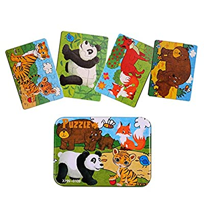 Kids Puzzles for Toddlers 3 Years, 4 in 1 Wooden Jigsaw Puzzles with a Storage Box (Forest Animals): Toys & Games