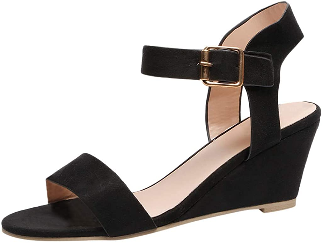 Womens Sandals Ladies Fashion Solid Wedges Heel Buckle Strap Roman Shoes