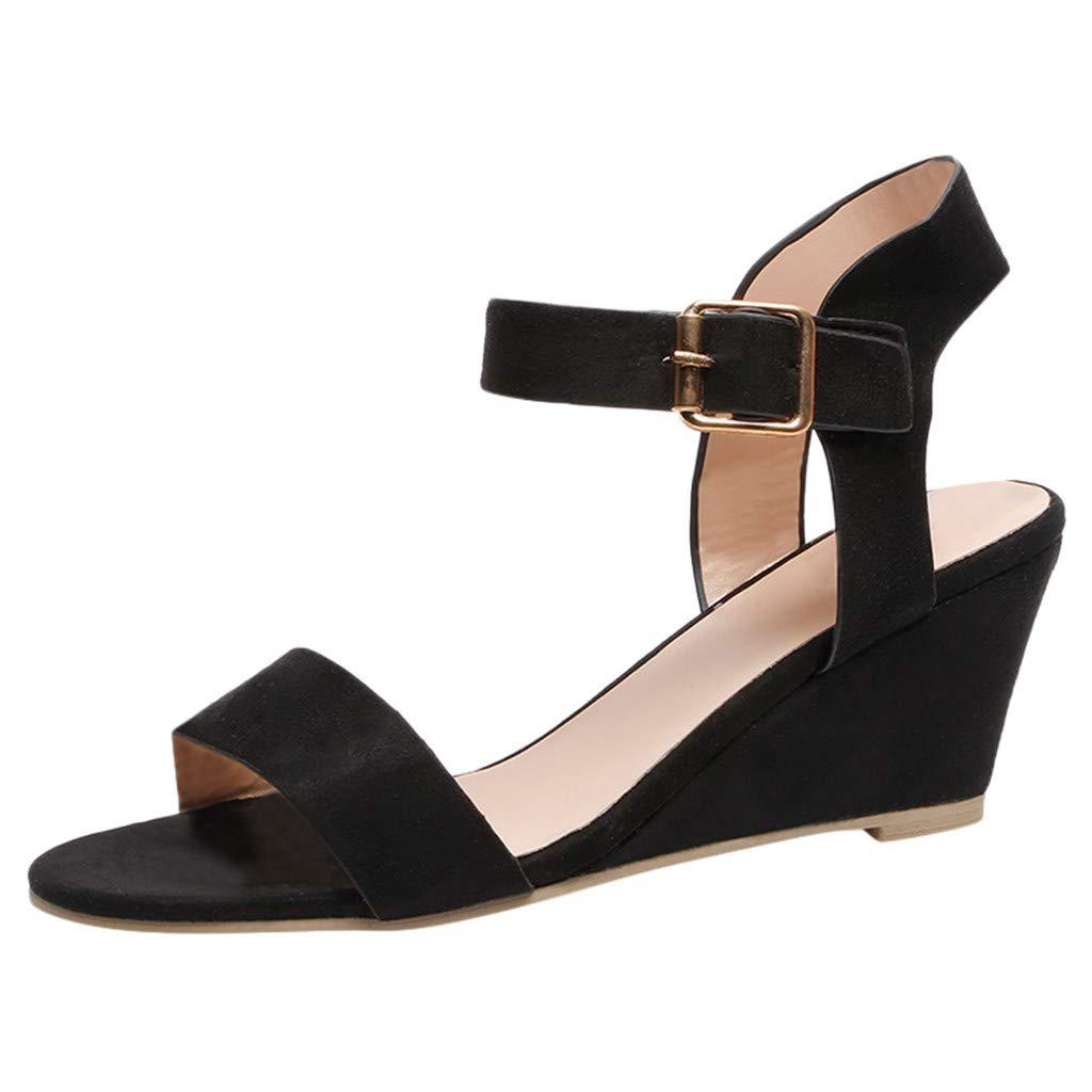 KESEELY Women's Solid Wedges Heel Sandals Fashion Ladies Buckle Strap Roman Gladiator Peep Toe Shoes Black