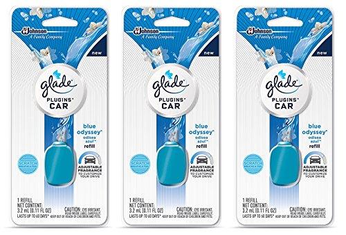 (Glade Plugins Car Refill - Blue Odyssey - Net Wt. 3.2 mL (0.11 FL OZ) Per Refill - Pack of 3 Refills)