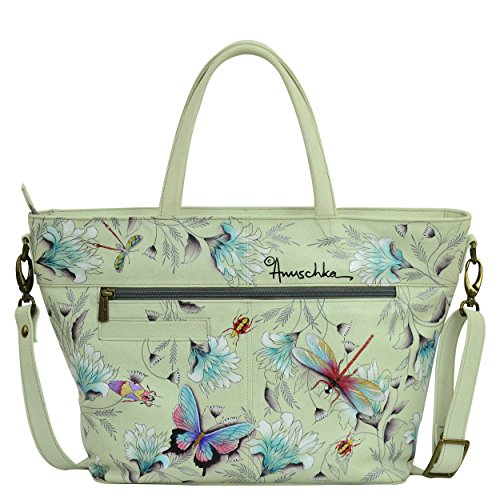 WWG With Large Tote Wondrous Protection Painted for Hand Organizer RFID Designer Women Anuschka 635 Leather Handbags Wings aApvWRw