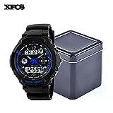 XFCS Waterproof Wrist Digital Automatic Watches For Men Digitais Watch Running Mens Man Digitales Clock(With Retail Metal Box)-Blue