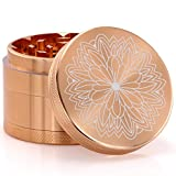 weed grinder with design - DCOU New Design Premium Aluminium Herb Tobacco Weed Grinder 2.2 Inches 4 Piece Metal Grinder with Pollen Catcher with Laser Flower Pattern