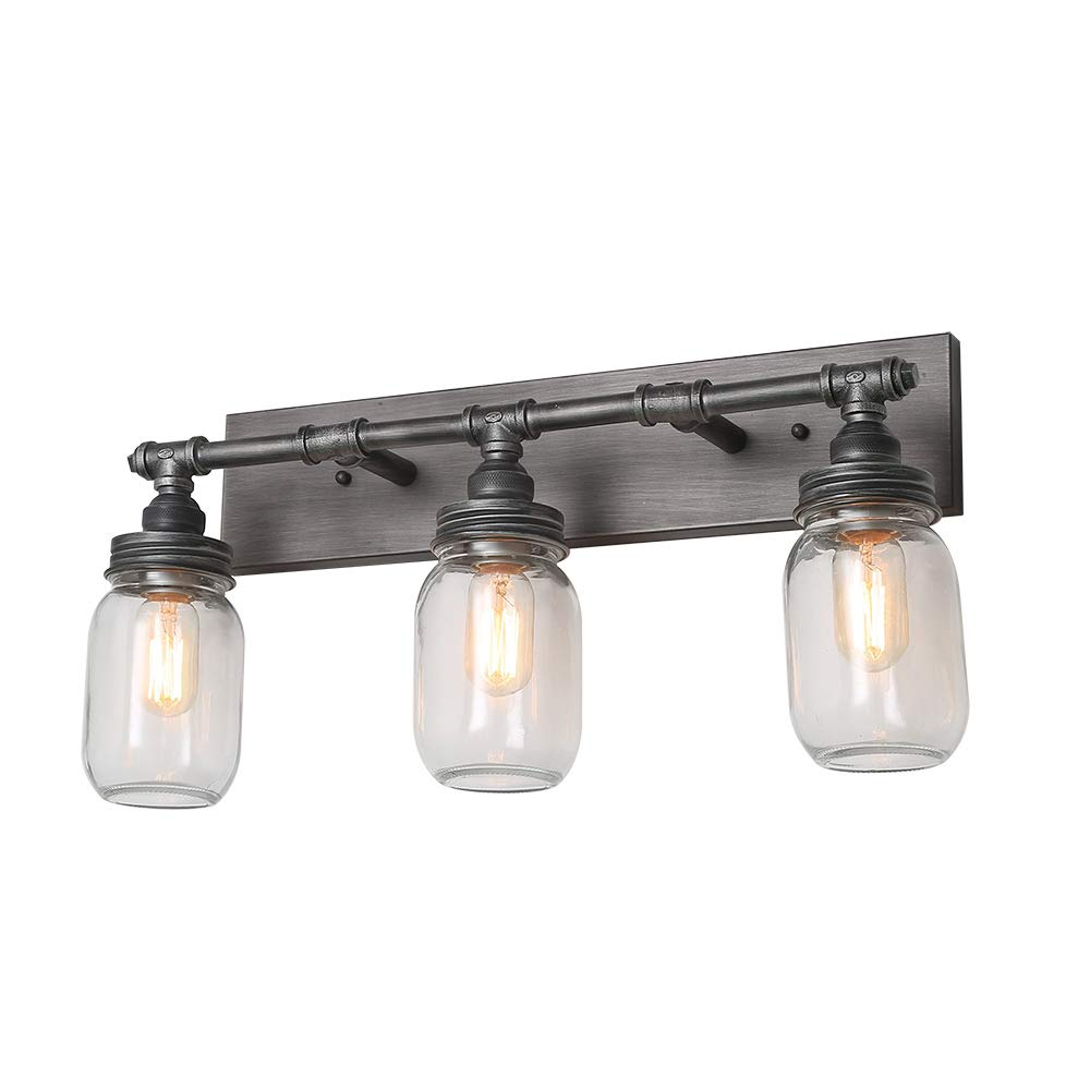 "LNC Vanity Lights, Large Industrial 24.4"" 3-Light Mason Jar Wall Sconce, Silver Plating with Black Finish"