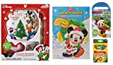 Disney Christmas Holiday Baking and Activity 4 Piece Set With Mickey Mouse and Friends | Chocolate Cookie Mix For Santa with Plate, Spatula and Cookie Cutter, Coloring Book, Activity Pad, and Crayons