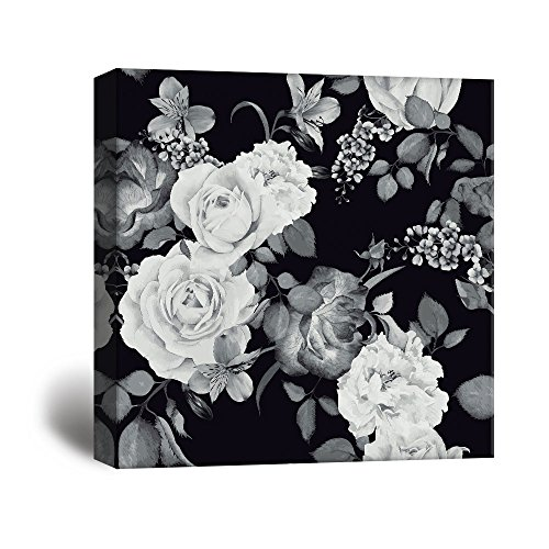 wall26 Square Canvas Wall Art - Roses and Floral Patterns in Black and White - Giclee Print Gallery Wrap Modern Home Decor Ready to Hang - 24x24 inches ()