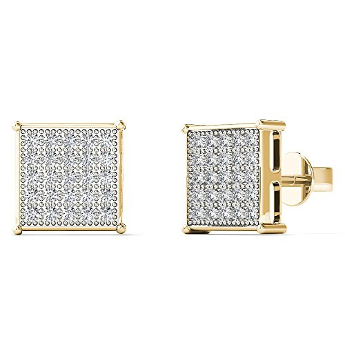 JewelAngel Women's 10K Yellow Gold 1/8 Carat TDW Diamond Classic Square Stud Earrings (H-I, (Tdw Diamond Square Earrings)