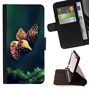 BullDog Case - FOR/Apple Iphone 4 / 4S / - / butterfly spring morning green nature /- Monedero de cuero de la PU Llevar cubierta de la caja con el ID Credit Card Slots Flip funda de cuer