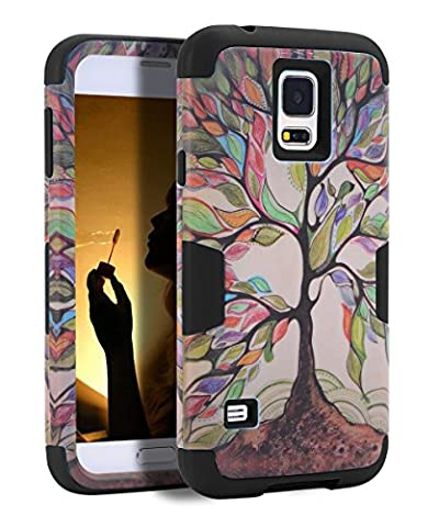 Galaxy S5 Case, S5 Case - SKYLMW [ Shock Resistant Series ] Hybrid Rubber Case Cover for Samsung Galaxy S5 3in1 Hard Plastic +Soft Silicone Tree (Best Samsung S5 Case)