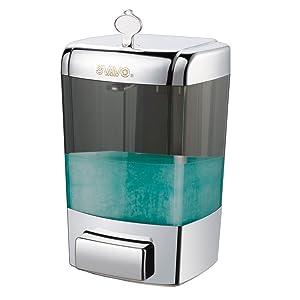 SVAVO V-7101 ABS Plastic Wall Mounted Hand Liquid Soap Dispenser White,Chrome 700ml Pack of 1 …