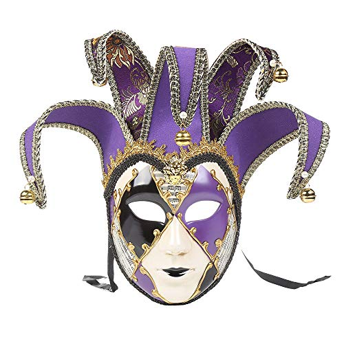 Christmas Party High-End Mask,Full Face Venetian Joker Masquerade Theater Mask Mardi Gras Party Ball Mask (Purple, -