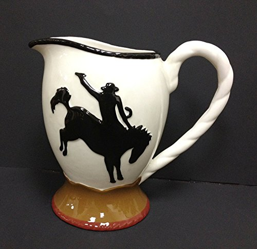 NEW HAND PAINTED CERAMIC PITCHERS BY ACK (WESTERN COWBOY PITCHER) ()