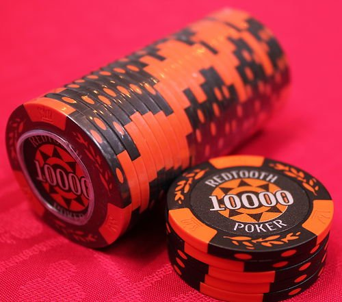 10,000 Value Numbered Poker Chip Roll Redtooth Poker