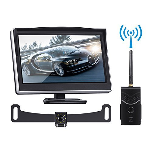Digital Wireless Backup Camera Kit, TOGUARD 5'' LCD Backup Monitor + IP69 Waterproof 170°Wide View Angle Reverse Rear View license plate Camera with 8 LEDs, Super Night Vision for Cars/Trucks/ Pickup by TOGUARD