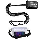 Tagvo SUP Leash 10ft 7mm Coiled with Waterproof Waist Pouch, Comfortable Padded Neoprene Ankle Cuff with Double Swivels Anti-rust Triple Rail Saver Lightweight Surfboard Leash